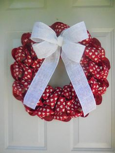 Red Burlap with White Hearts Burlap Ribbon Wreath by TowerDoorDecor, $35.00