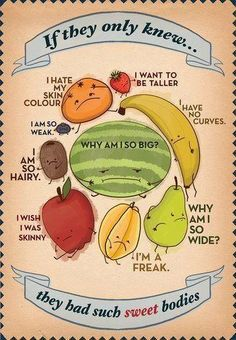 Imagine if every one of us could recognize that what we think is our 'problem' is actually what makes us special? This fruit poster on body image was found on Australian Good Taste's fb page. Body Love, Loving Your Body, Perfect Body, Image Positive, Body Positive, Positive Thoughts, Positive Living, Positive Messages, Random Thoughts