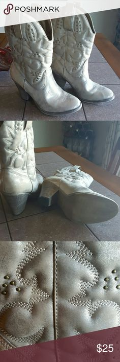 Heeled cowboy boots Metallic beige,  great shape, worn twice first picture is true coloring. Mia Shoes Heeled Boots