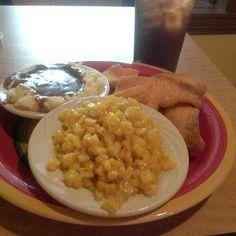 Fried tilapia, sweet fried corn, mashed potatoes with gravy and blue raspberry iced tea @ Pork Chops & Grits Cafe