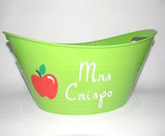 Decorative Green Plastic Tub Bucket with by anniescraftcorner, $8.00