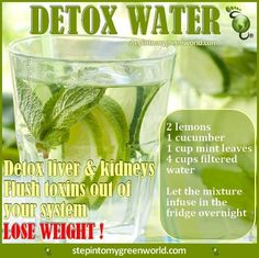 ☛ This #detox water is full of fresh yet potent ingredients that helps flush out toxins from the liver and kidneys.