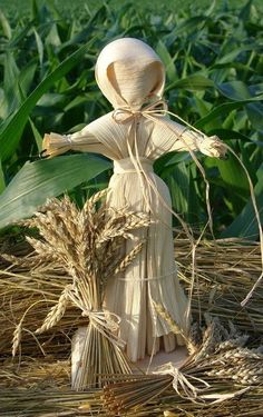 "In Ireland and Scotland, the first farmer to finish the grain harvest made a corn dolly, representing the Cailleach (also called ""the Carlin""), from the last sheaf of the crop. The figure would then be tossed into the field of a neighbor who had not yet finished bringing in their grain. The last farmer to finish had the responsibility to take in and care for the corn dolly for the next year, with the implication they'd have to feed and house the hag all winter. (McNeill)"