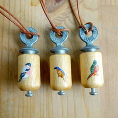 Hand painted Bird Call Necklace by Keiko Brodeur. Would love to wear this while birdwatching.
