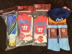 warrior joblot of football gloves caps shin pads 17 items in total