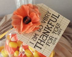 Thanksgiving Halloween Party Favor Table Decoration Candy Corn Personalized Tag Tissue Paper Flower in Harvest Autumn Fall