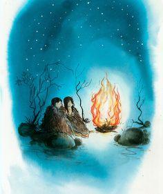 IJstijd-kinderen Bor en Veer onder de prehistorische sterrenhemel (tekening: Harmen van Straaten)