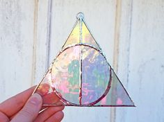 Harry Potter Deathly Hallows Stained Glass Suncatcher Iridescent Magic Book Art