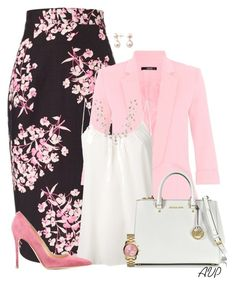 Jonathan Saunders Black Sakura Floral Skirt by amy-phelps on Polyvore featuring polyvore, fashion, style, Amour Vert, Dorothy Perkins, Jonathan Saunders, Gianvito Rossi, Michael Kors, Bling Jewelry and A B Davis
