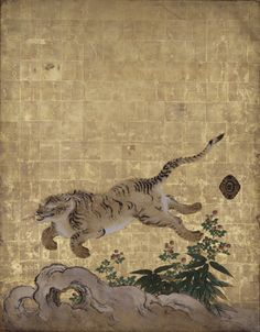 Tigers in a Bamboo Grove (detail), mid‑1630s. Kano Tan'yū, Japanese, 1602–1674. Ink, color, and gold leaf on paper, set of four‑panel sliding doors, each door 72 13/16 × 55 1/2 inches. Nanzen-ji Temple, Sakyō-ku, Japan. Important Cultural Property