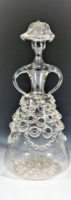 Stilisierte Figur Vera Liskova, 70er Jahre Lampengeblasenes Symaxglas. H. 50 cm Czech Glass, Artist At Work, Figurine