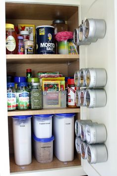 An organized pantry... I always mean to get big glass jars and label them like this but never seem to get around to it...    IHeart Organizing: It's HERE! The Kitchen Cabinet Tour!!