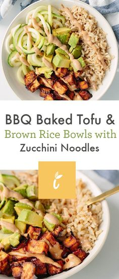 BBQ Baked Tofu and Brown Rice Bowls with Zucchini Noodles - Inspiralized - Dinner Recipes Spiralizer Recipes, Tofu Recipes, Vegetarian Recipes, Ww Recipes, Healthy Food Blogs, Healthy Recipes, Healthy Meals, Healthy Eating, Bbq Tofu
