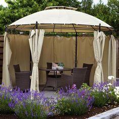 Such a cool gazebo Santa Lucia, Outdoor Rooms, Outdoor Living, Outdoor Decor, Garden Furniture, Outdoor Furniture Sets, Steel Furniture, Lawn And Garden, Home And Garden