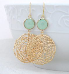Gold Statement Earrings with Mint Green Jewels- Large Gold Dangle Statement Earrings-Gold Mesh Circle Earrings- Geometric Statement Earrings
