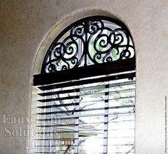 Wrought Iron Window Treatment - Faux Iron Arched Window Decor