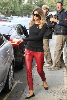 red leather pants - Elle M