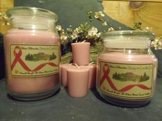 Unscented Pink Line Accent Jar Candles Supporting by MaineMountain, $18.98