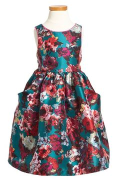 Pippa & Julie Floral Print Shantung Fit & Flare Dress (Toddler Girls & Little Girls) available at #Nordstrom
