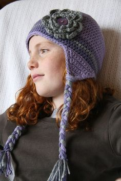 purple and gray flower beanie