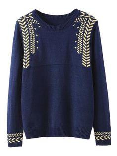 Shop Blue Geometric Pattern Long Sleeve Knit Sweater from choies.com .Free shipping Worldwide.$31.99
