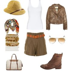 A fashion look from April 2012 featuring jersey tank, brown moto jacket and short khaki shorts. Browse and shop related looks. Safari Chic, Moda Safari, Safari Outfit Women, Safari Outfits, Safari Clothes, Boho Fashion, Safari Fashion, Fashion Ideas, Wardrobe Images