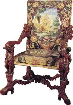 In the baroque period even furniture was very richly decorated. A chair from the late 1600s shows this style.