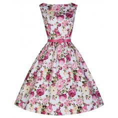 'Audrey' Iconic Hepburn Style 50's Dress In Classic Pink Rose Print
