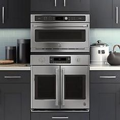 Eye level built in ovens and coffee maker with white high for Eye level oven kitchen designs