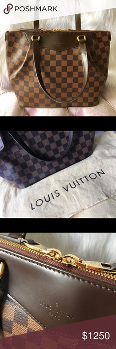 "LOUIS VUITTON Damier Ebene Canvas Westminster PM Retail: $1,650 Pre-owned in excellent condition Authentication/Date code: FL21** Size: H:9.4"", L:13.4"" , D: 5.9"" Length of strap: 16.9"", Strap drop: 6"" Closure: zipper Interior: 3 flat pockets Comes with dust bag Condition: AAA ( refer to last picture for description)  Slightly wrinkled resulting from storage. Slight scratch at the bottom edge, unnoticeable. No loose threads, insignificant scuffing. Interior is very clean. Louis Vuitton Bags…"