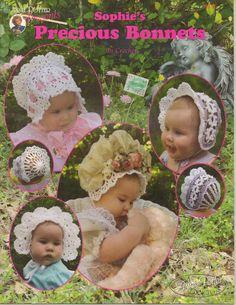 ANNIE POTTER SOPHIE'S PRECIOUS BABY BONNETS CROCHET PATTERNS LEAFLET - 9 DESIGNS