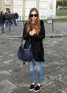 fur waistcoat, chloe marcie bag, j brand jeans, zara pony hair slip on, celine audrey sunglasses