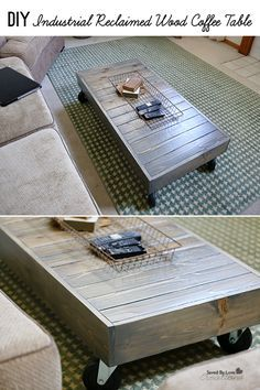 DIY Industrial Coffee Table Woodworking Plans @savedbyloves