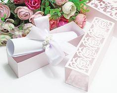 Wedding box invitations - SVG, DXF, ai, CRD, eps - Laser Paper Cut - Silhouette Cameo- Cricut - Inst Box Invitations, Birthday Party Invitations, Wedding Boxes, Wedding Cards, Laser Paper, Cricut, Surprise Box, 12th Birthday, Explosion Box