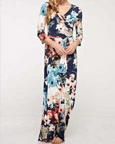 Hannah Floral Faux Wrap Maxi Dress in Navy $50