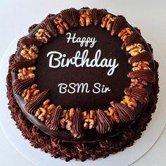 Create Chocolate Walnut Birt hday Cake With Your Name