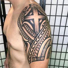 what are hawaiian tattoos called Arm Tattoos Cross, Half Sleeve Tribal Tattoos, Forearm Band Tattoos, Half Sleeve Tattoos For Guys, Tribal Tattoos For Men, Cross Tattoo For Men, Tattoos Skull, Upper Arm Tattoos For Guys, Upper Arm Tattoos Designs