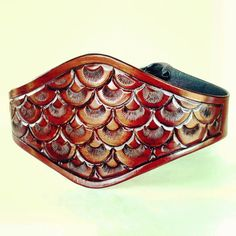 Fish Scale Pattern Handmade Tooled Mahogany corset beltby ContrivedtoCharm