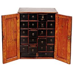 Apothecary Chest China 19th Century Small Medicine Cabinet With Double  Doors And Original Hardware. Each