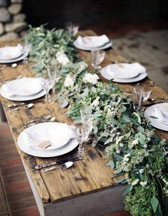 Green centerpiece floral spray. Simple, elegant wedding ideas