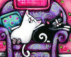 Folk Art Cat PRINT, 2 CATS on Purple Chair, cute cat art, whimsical cat art, colorful cat wall decor by Krista