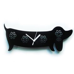 Kirsty the Sausage Dog clock by BigBadWolfDesign on Etsy, £29.50