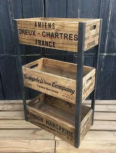 Wine Crate Table, Wooden Wine Crates, Wooden Cart, Crate Furniture, Industrial Furniture, Rustic Furniture, Home Decor Kitchen, Diy Home Decor, Camping Crafts