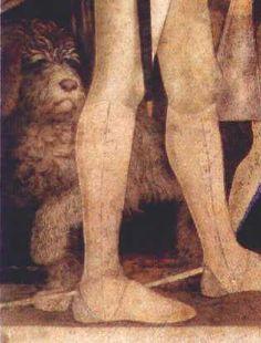 affrescoparticolare Mantegna's fresco in Camera degli Sposi in the Gonzaga castle in Mantova shows a lagotto dog behind his master's leg... a dog for truffle hunting!