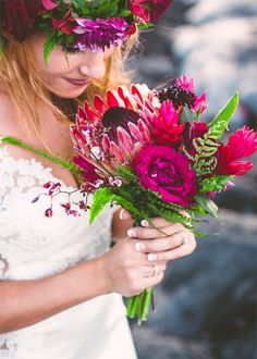Protea Bouquet & Flower Crown | Brides.com