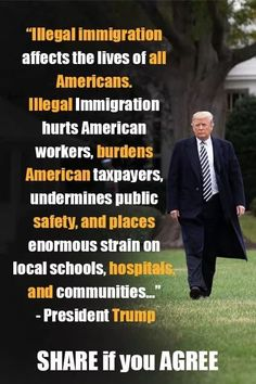 not to mention the millions of dollars removed from our economy that are sent to pay for things elsewhere, in the countries of origin from the illegal aliens' wages. Political Topics, Political Quotes, Truth Hurts, Hard Truth, Greatest Presidents, Our President, Conservative Politics, Deep Thoughts, We The People