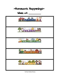 A freebie template I use for weekly homework assignments.  I write in the homework and then run copies for kids....
