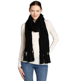 Vince Camuto black honeycomb knit oversized scarf