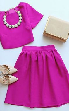 Pink two piece dress makes for a great chic dress perfect for holiday parties, birthday celebrations or weddings!