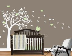 One color summer tree wall decal for nursery and baby rooms. Wall decals are the hottest trend in nursery decor! Buy now and instantly transform your nursery into one that is special and sophisticated.